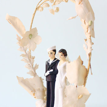 Vintage Wedding Cake Topper Bride and Sailor Groom