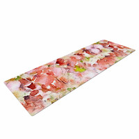 "Carolyn Greifeld ""Floral Fantasy"" Pink Abstract Yoga Mat"