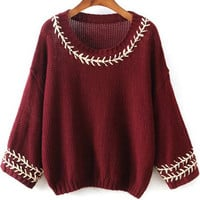 Wine Red Embroidered Half Sleeve Knit Sweater