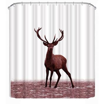Shower Curtains Deer Animals Design Shower Curtain Bathroom Products 3D Printed Curtain with 12 White C Hooks