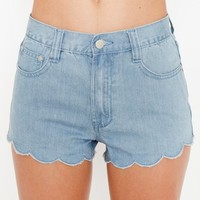 Denim Scallop Shorts