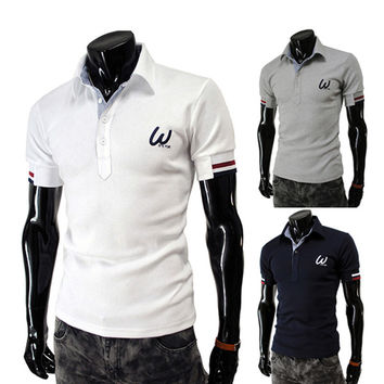 Short Sleeve Men's Fashion Slim Fit Polo Tee Shirt
