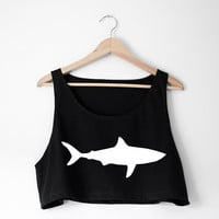 Sharkie Tank -  An American Apparel Loose Crop Tank with your choice of Shark Design