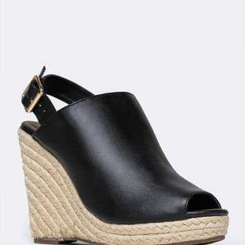 PEEP TOE ESPADRILLE WEDGE