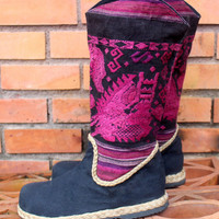 Raspberry Womens Cowboy Boots In Ethnic Laos Embroidery