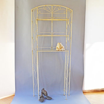 Vintage Metal Rack, Bakers Rack, Metal Plant Stand, Shabby Chic Stand, Indoor Plant Shelves, Potted Plants Stand, Metal Kitchen Rack