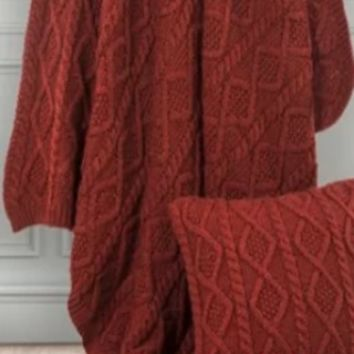 Cowgirl Kim Red Cable Knitted Throw