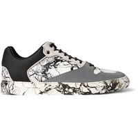 Balenciaga - Suede-Trimmed Marbled Leather and Rubber Sneakers | MR PORTER