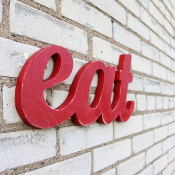EAT recycled wooden sign 16x85 by WilliamDohman on Etsy