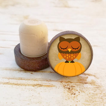 Thanksgiving Wine Stopper, Owl Standing on Pumpkin Bottle Stopper, Dark Wood T-Top, Holiday Gift, Autumn Wine Cork, Wood Top Cork Stopper