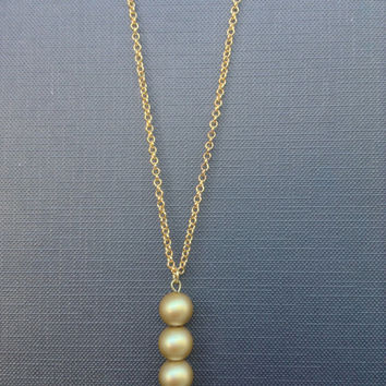 GOLD minimalist Necklace // Mat gold glass beads // Art Deco-Bauhaus inspired