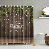 New Year Christmas Bathroom Decor Shower Curtain - Coffee L