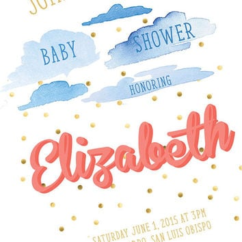 Printable Bridal Shower Invitation - Beautiful Watercolor Clouds and Golden Rain Invite