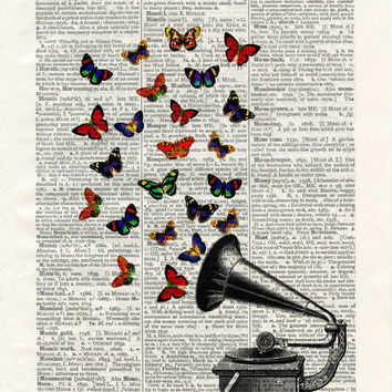Vintage Gramaphone Illustration with Butterflies - vintage image printed on an early 1900s Dictionary page Buy 3 get 1 FREE