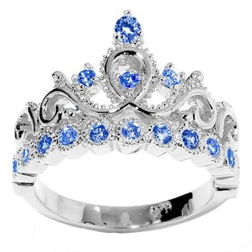 JewelsObsession's 14K Gold Princess Crown CZ Sapphire Ring (September Birthstone)