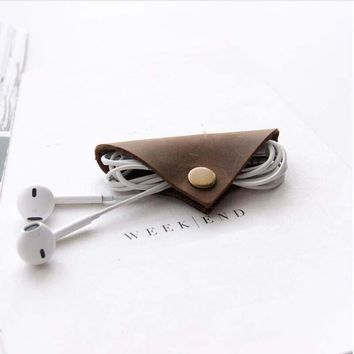 Leather Earphone Cable Holder