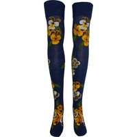 Bunch of Pansies Over The Knee Socks in Navy