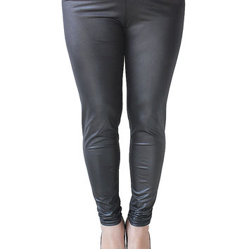 Plus Size Slim Black PU Stretch Mid Waist Women Leggings