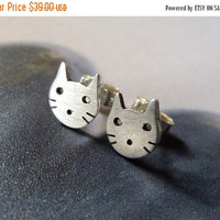SALE Cat stud earrings, Sterling silver kitty post earrings, studs, everyday wear