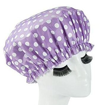 Eslite Waterproof Double Layers Shower Caps for Women,(Purple, White Dot)