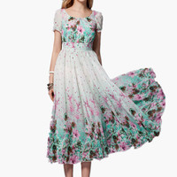 White Floral Print Tea-Length Chiffon Maxi Dress