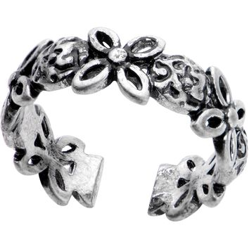 Silver Plated Floral Wreath Toe Ring