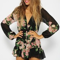 Unstoppable Playsuit - Black Floral