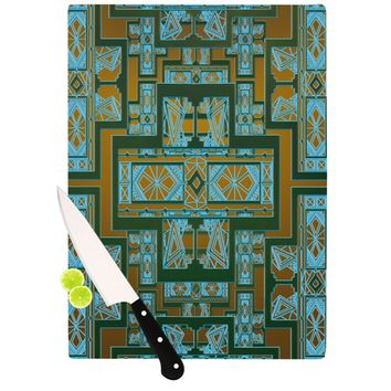 "Nika Martinez ""Golden Art Deco Green & Blue"" Cutting Board"