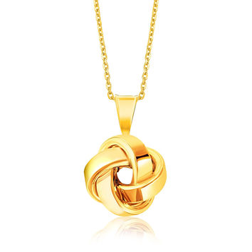 Large Love Knot Pendant + Necklace in 14k Yellow Gold