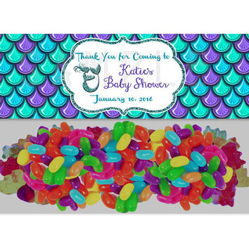 Under The Sea Mermaid Baby Shower Bag Topper - Mermaid Party Favor Goody Bags - Purple Mermaids Treats - Favor Ideas  Girl Baby Shower Decor