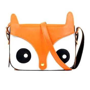 Owl Fox Face Shaped Animal Themed Cross body Shoulder Bag for Women in Orange