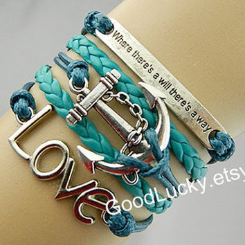 Bracelets-Inspirational Bracelet,anchor bracelet,love bracelet,leather bracelet,hipster jewelry,couples bracelet,charm bracelet,green rope