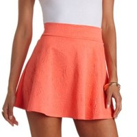 Floral Embossed Skater Skirt by Charlotte Russe - Neon Coral