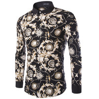 Spring Fall Fashion Floral Pattern Slim Fit Turndown Collar Long Sleeve Shirts For Men