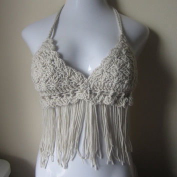 ON SALE Fringe halter top, offwhite festival, bikini top, gypsy, boho bohemian, summer top, 70's top