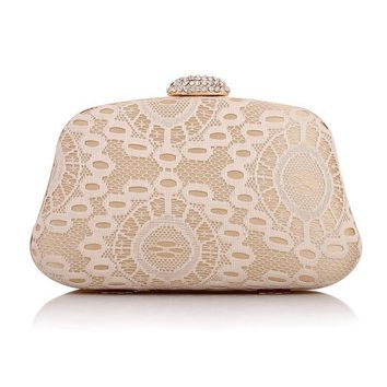 TANGSONGGUCI New arrival lace embroidery acrylic women bag small purse wallets clutch evening bag for wedding bridal tote