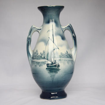 Antique blue nautical scene vase