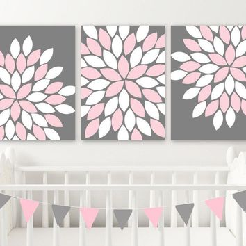 PINK GRAY Flower Nursery Wall Art, Pink Gray Bedroom Wall Decor, Pink Gray Flower CANVAS or Print, Pink Gray Flower Bathroom Decor, Set of 3