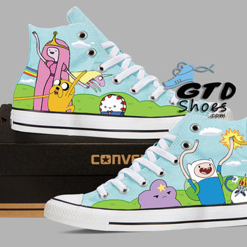 Hand Painted Converse. Adventure Time, Fin, Jake, Peppermint Butler, Princess bubble gum, Lady rainicron, Ice king, Lumpy space princess.