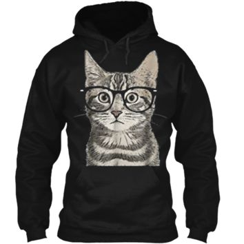 Hipster Cat Kitten Spectacles Eye Glasses Funny Cute  Pullover Hoodie 8 oz