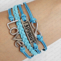 Karma Bracelet - Motto Dream Silver Cross& Love Bracelet-Antique Silver blue leather Charm Bracelet  Vintage Style Cute Personalized Jewelry