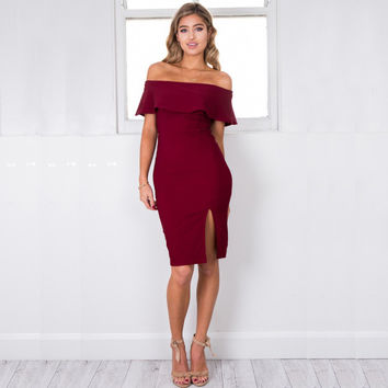 Off The Shoulder Ruffle Split Dress [6259170244]