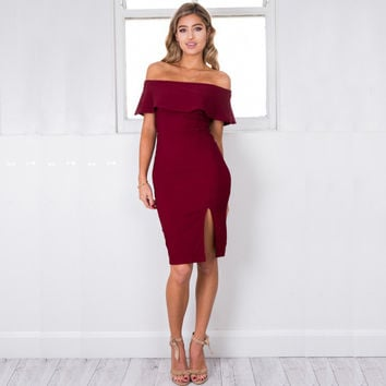 Off The Shoulder Ruffle Split Dress [6240898884]