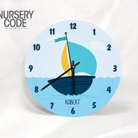 """PERSONALIZED NAUTICAL CLOCK-Boat and Ocean- 11"""" or 16"""" Diameter - 1/4 """" thick"""