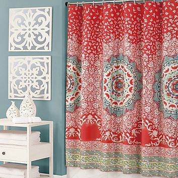 Jessica Simpson Amrita Medallion Multicolor Shower Curtain