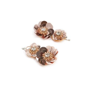 Sequin Flower Bobby Pin Set