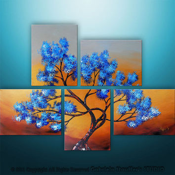 CUSTOM PAINTING Abstract Modern Landscape Tree Asian Zen Art by Gabriela 44x32 Metallic