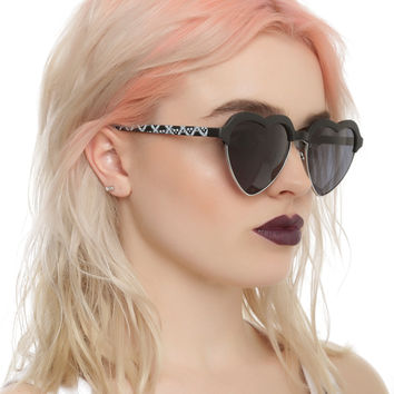 Matte Black Skull Heart Sunglasses