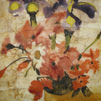 Yellow floral painting oversized bright orange watercolor batik on Japanese rice paper vintage-feel distressed look 17x22 Marcia McKinzie