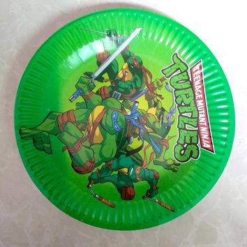 10pcs/lot Ninja Turtles Food Grade Paper Plates Baby Shower Girls Favors Happy Birthday Party Tableware Events Decorate Supplies